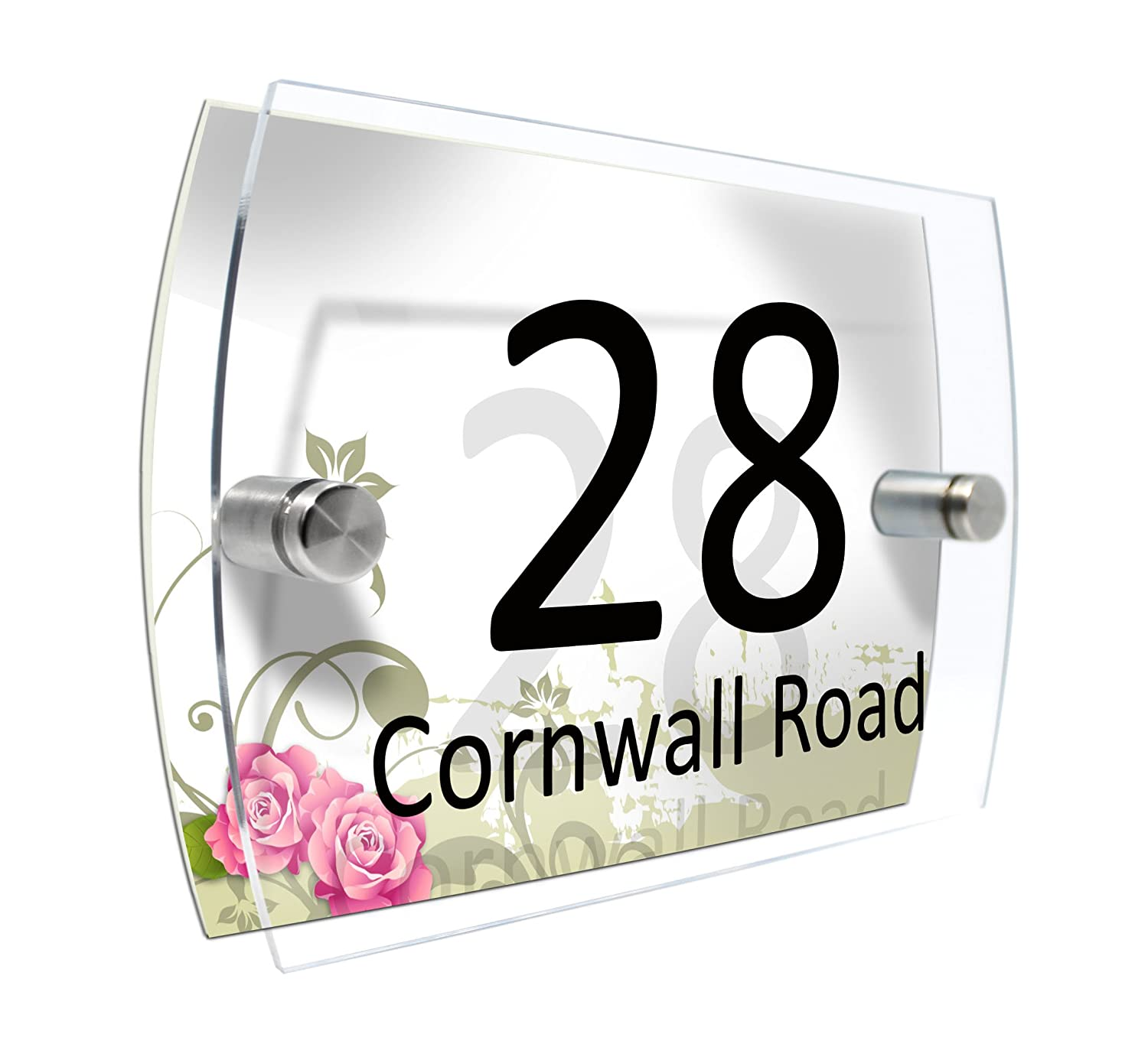 House Number Plaque Glass Effect Acrylic Sign Door Plate Marble Wall Display 2 Part Branded Acrylic (Grey Marble) CS PRINTING LIMITED