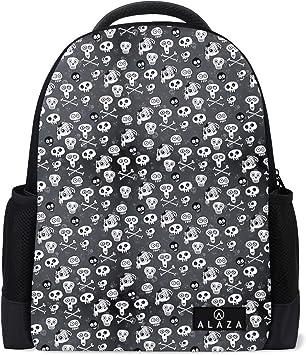 Leather Skull Halloween Monochrome Backpack Daypack Bag Women