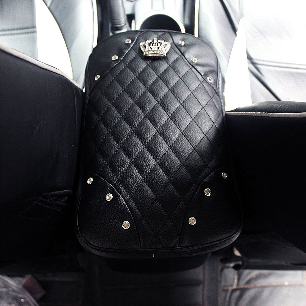 Bling Crown Decoration Cushion Qimei Car Armrest Cover Center Console Cushion Lid Handrail Box Pad Soft PU Leather A - Black