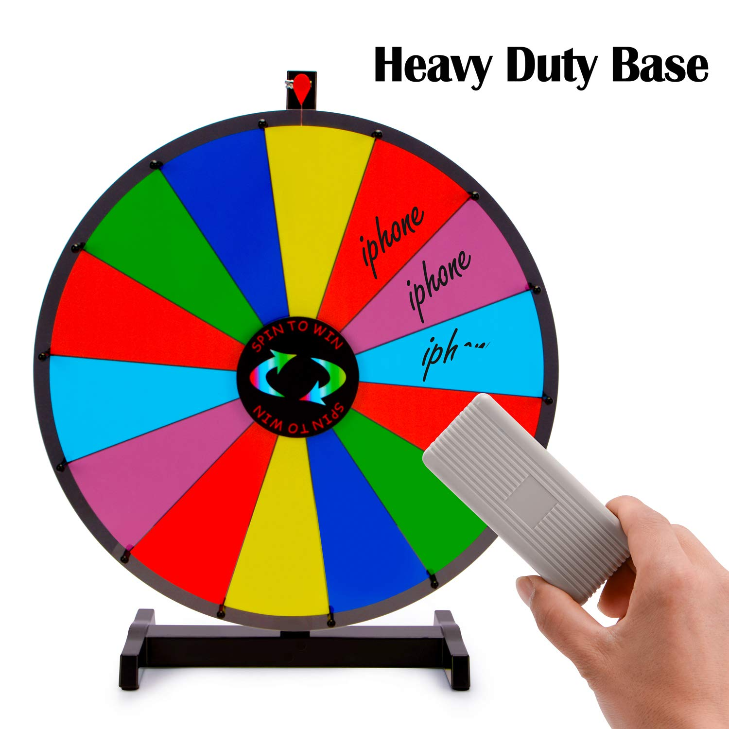 T-SIGN 24'' Heavy Duty Tabletop Spinning Prize Wheel, 14 Slots Color Prize Wheel Spinner with Dry Erase Marker & Eraser As Customized Gifts for Carnival and Trade Show, Win The Fortune Spin Game