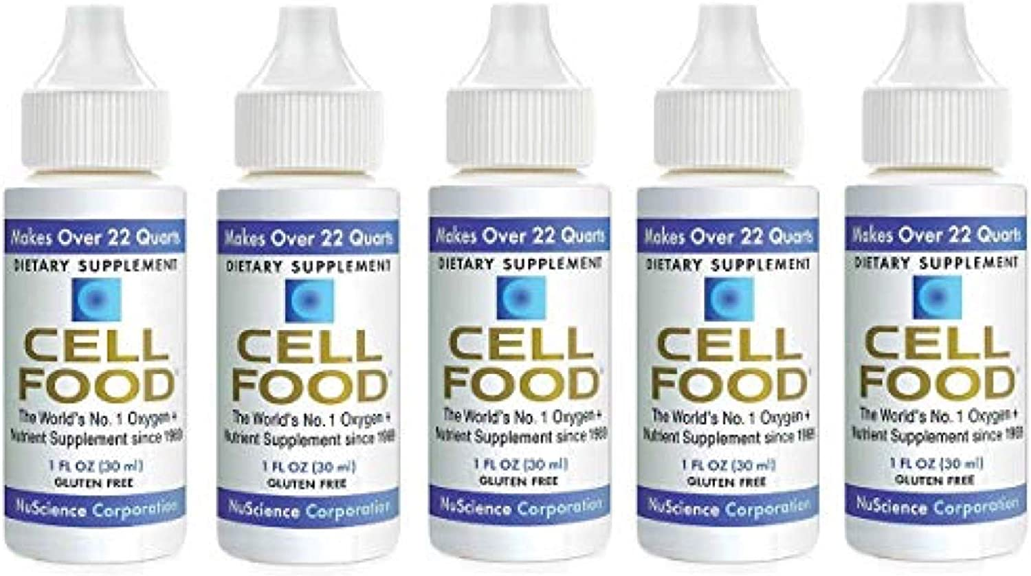 Cellfood Liquid Concentrate, 1 oz. (5 Pack) - Original Oxygenating Immune Support Formula - Seaweed Sourced Minerals, Enzymes, Amino Acids, Electrolytes - Gluten Free, Non-GMO, Certified Kosher