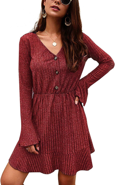 ABYOXI Womens Long Sleeve V Neck Button Ruffled Hem Casual Swing Pleated Mini Dress