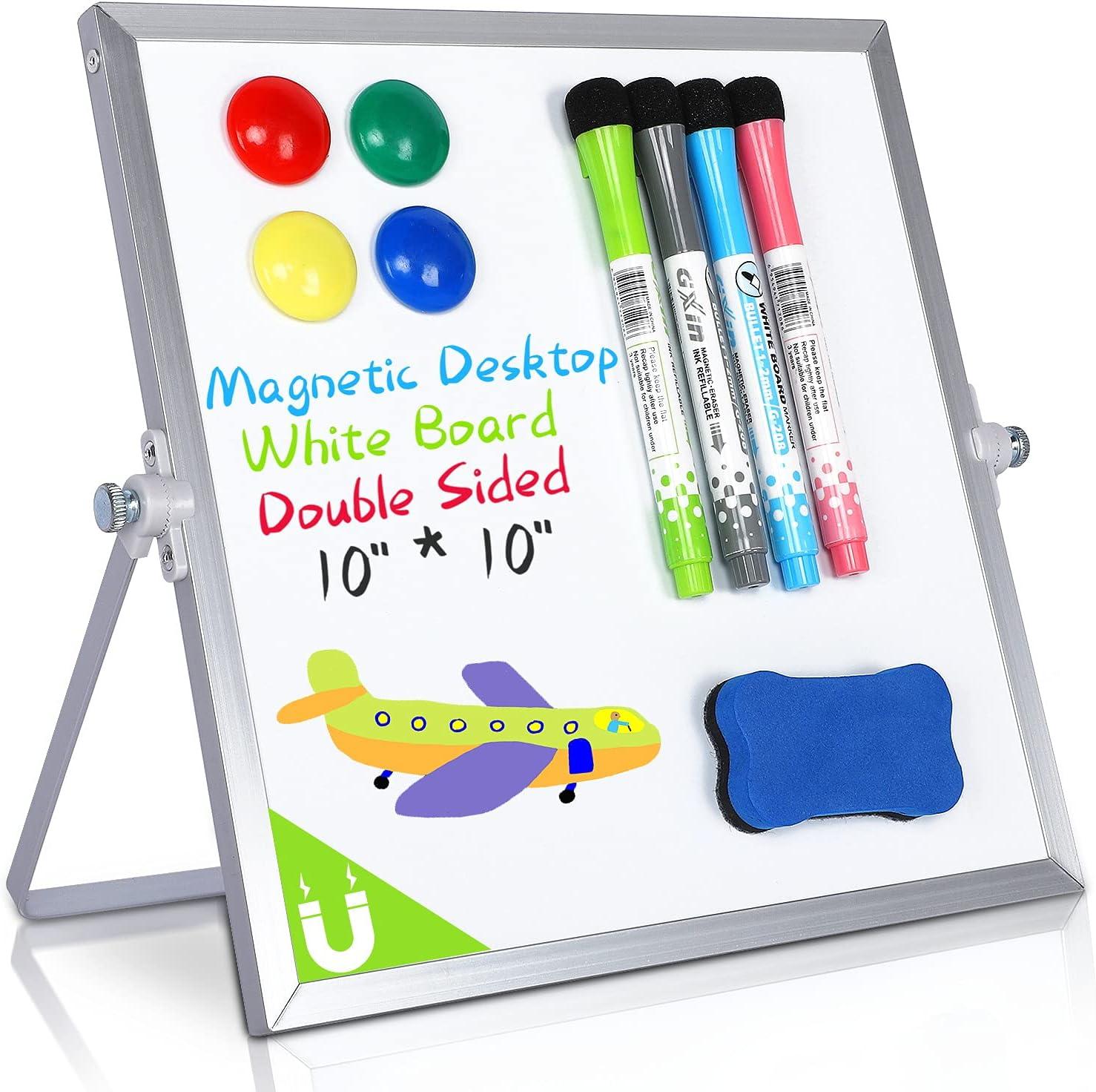 Magnetic Desktop Dry Erase White Board, 10
