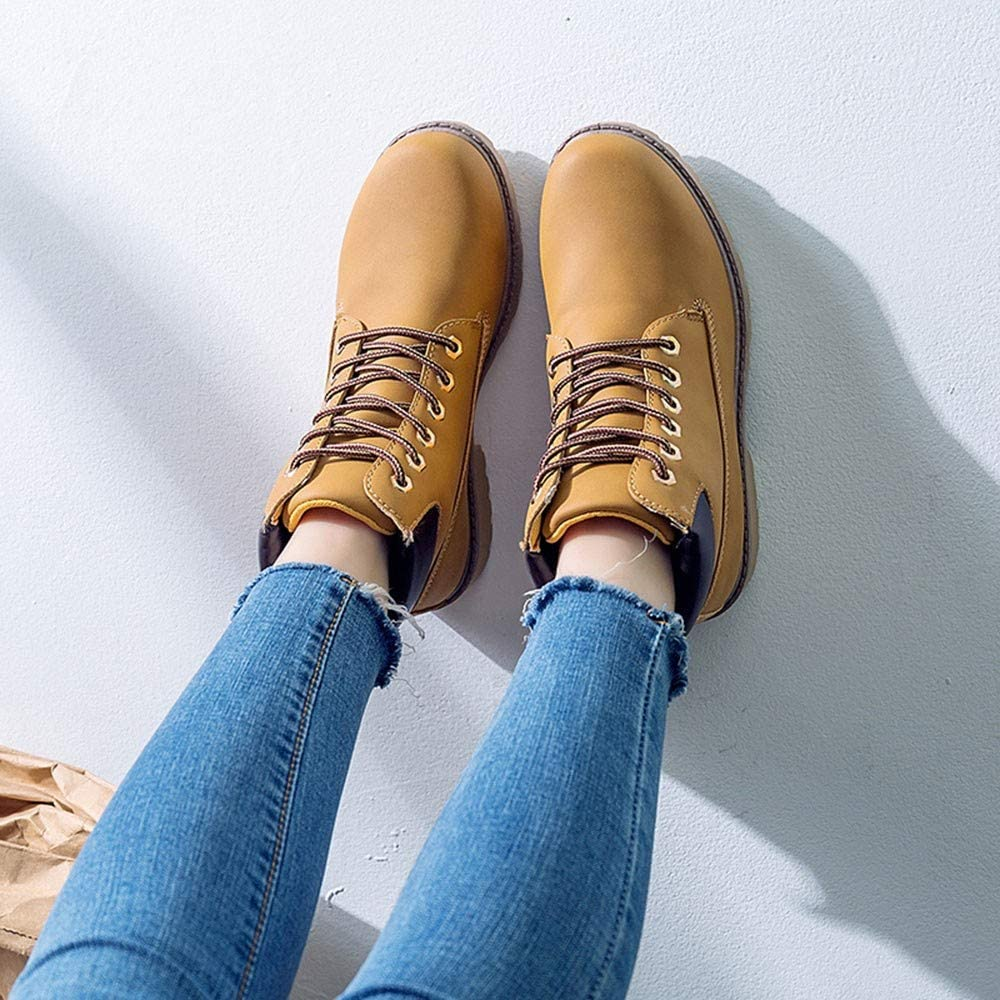WOCACHI Boots for Womens Women Fashion Retro Solid Ankle Thick Lace-up Short Boots Round Toe Casual Shoes