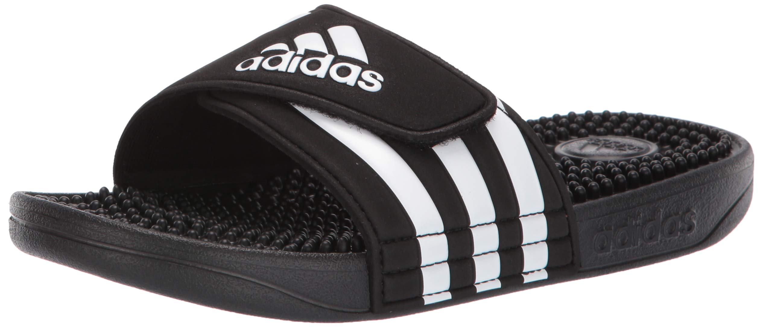 adidas Unisex Adissage, White/Black, 4 M US Big Kid by adidas
