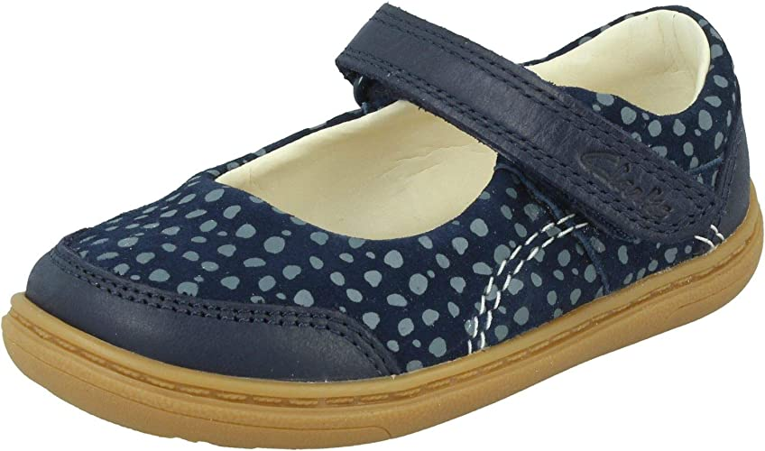 Clarks Roamer Star Toddler Leather Shoes in Navy Patent Extra Wide Fit Size 2