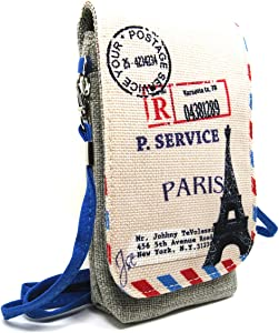 Naoki British Style Linen Mobile Cellphone Pouch Mini Messenger Shoulder Bag Coin Purse Wallet Handbag with Two Pockets for iPhone 6 6plus Galaxy note4 s5 Credit Card Keys Money etc(4 Eiffel)