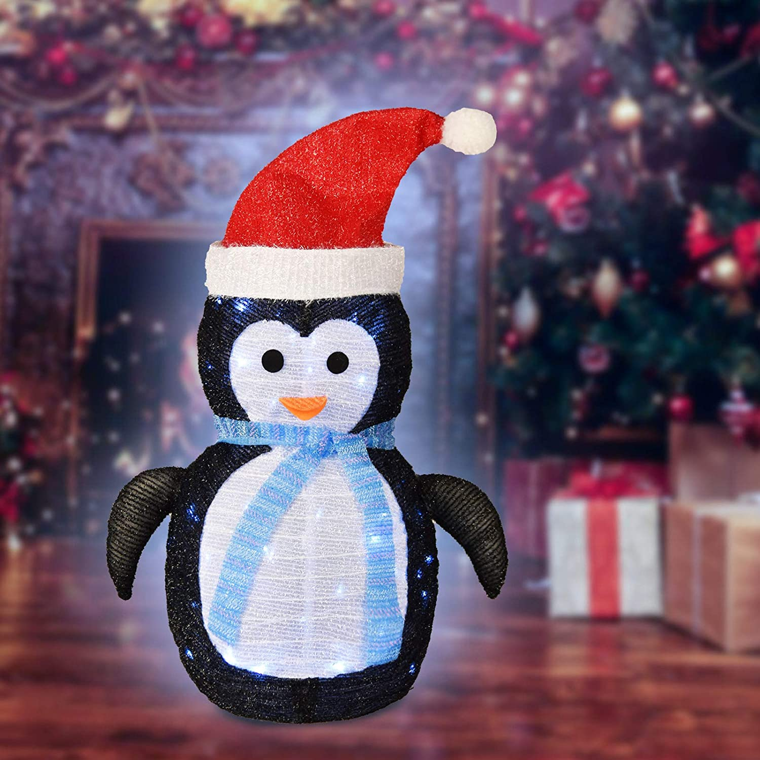 PIXFAIRY Christmas Standing Penguin Lawn Decoration with 40LED Lights, Christmas Decoration, Lawn and Porch Decoration Indoor Outdoor Decor