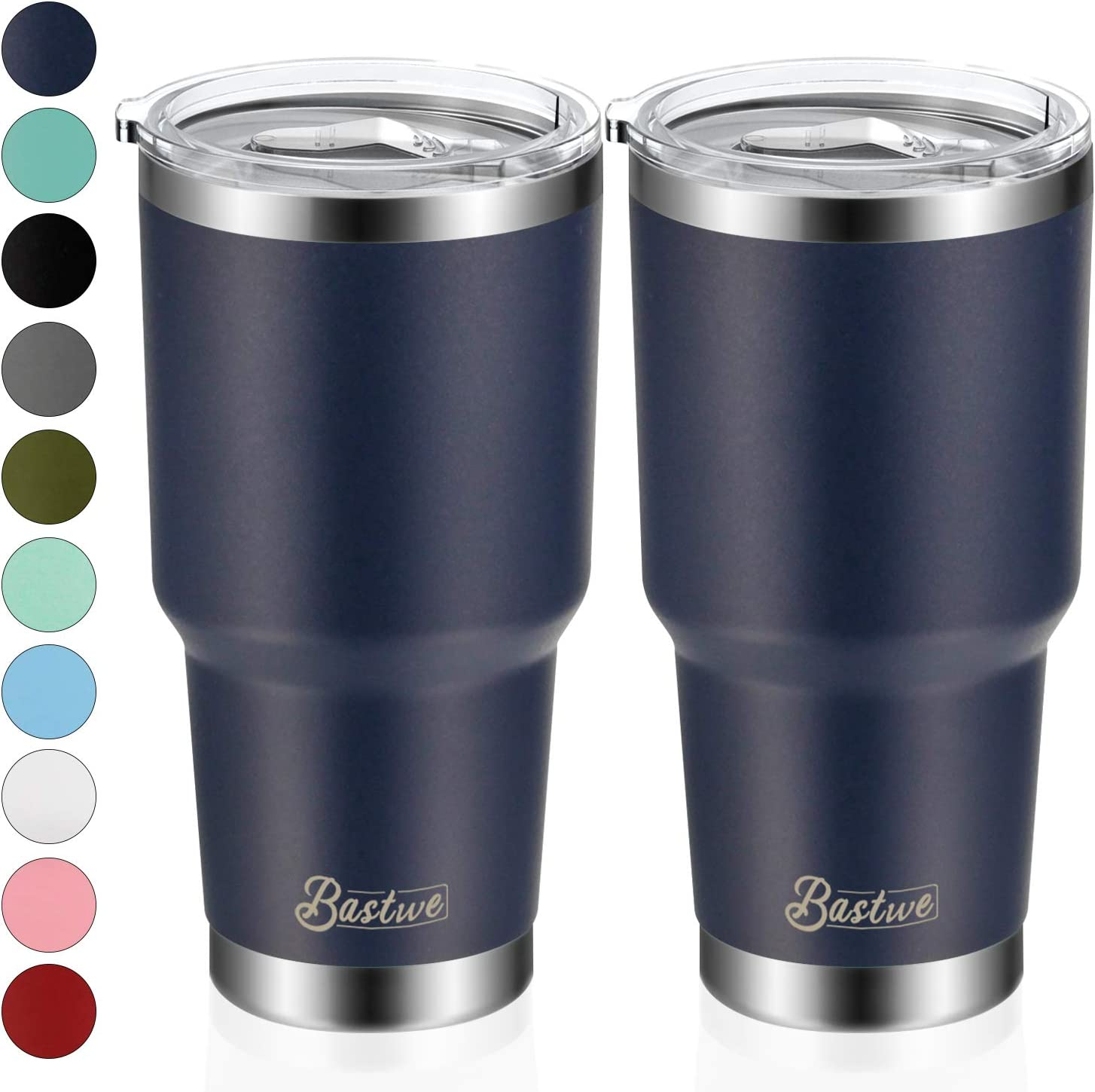 2 Pack 30oz Vacuum Insulated Tumblers, Bastwe Double Wall Stainless Steel Travel Mug with Lid and Straw for Home, Office, School, Works Great for Ice Drink, Hot Beverage (Navy)