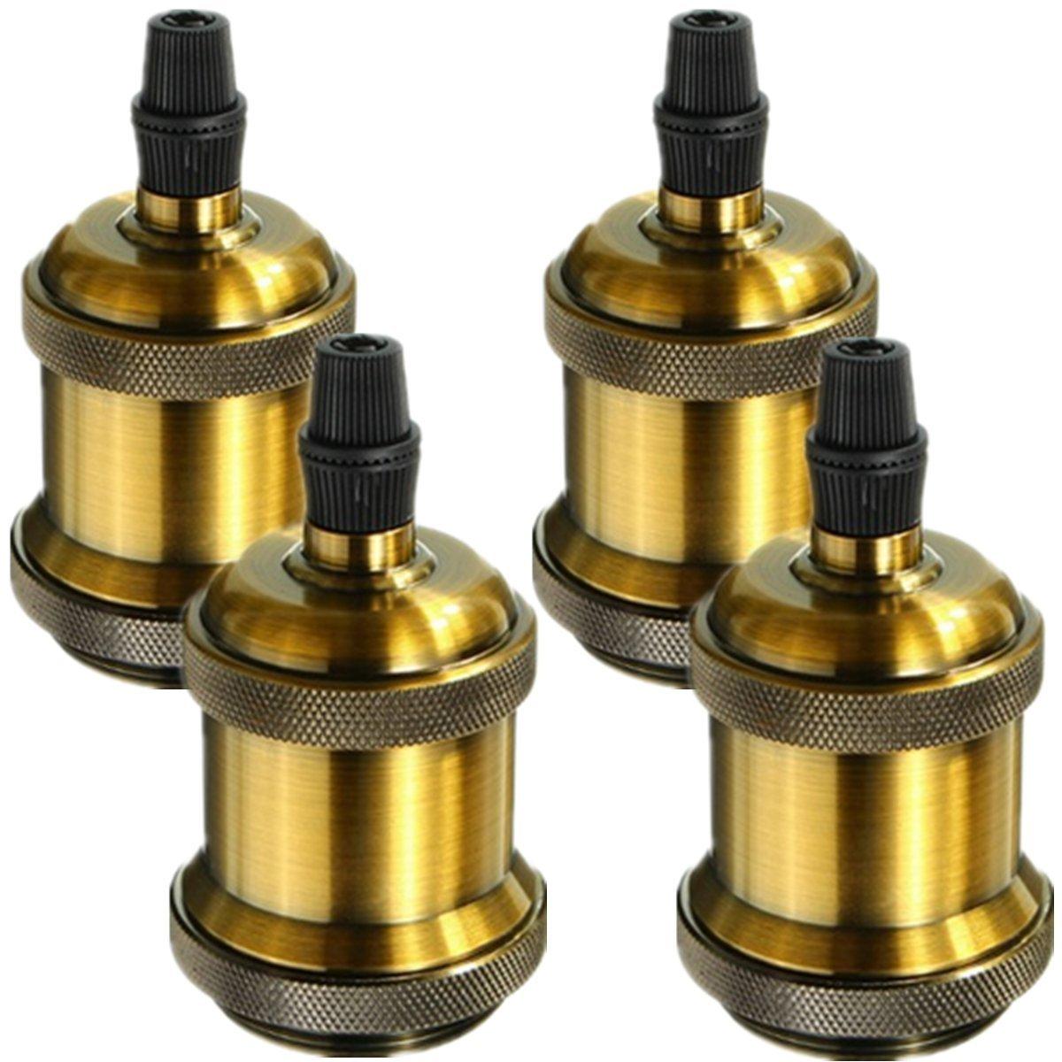INNOCCY Lamp Socket, Solid Vintage Industrial Edison Pendant Ceramics Medium E26 Light Socket Brass Finished, 4 Pack