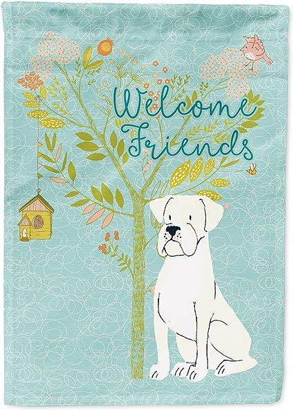 Amazon Com Caroline S Treasures Bb7580chf Welcome Friends White Boxer Flag Canvas House Size Large Multicolor Garden Outdoor