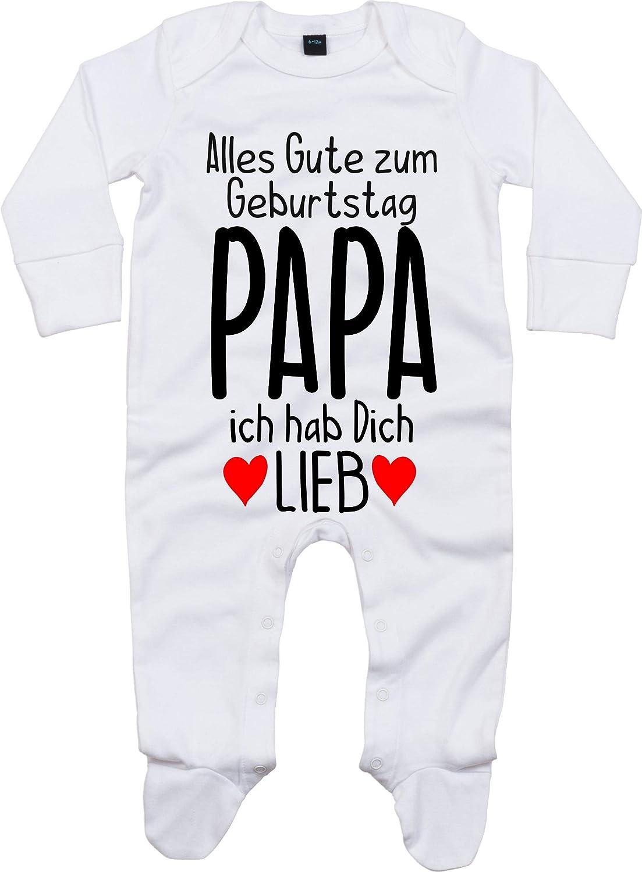 Kleckerliese Baby Schlafanzug Strampler Schlafstrampler Spr/üche Jungen M/ädchen Motiv Alles Gute Papa ich hab Dich Lieb