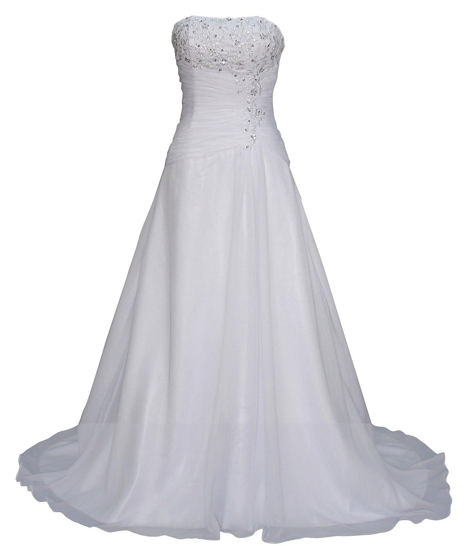 Romantic-Fashion Brautkleid Hochzeitskleid Weiß Modell W074 A-Linie ...