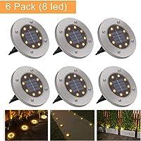 Luces Solares Exterior GolWof 6 Pack 8 LEDs Luces Solar de Tierra IP65 Impermeable Acero Inoxidable Luce de Tierra Lamparas Solares Jardin para Jardín Césped Patio Escalera Pasarela - Blanco Cálido