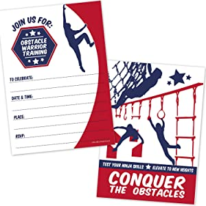 Kids Obstacle Course Birthday Party Invitations (20 Count with Envelopes) - Obstacle Warrior Ninja Course Invites - Warped Wall