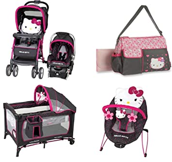 Baby Bundle Travel System Play Yard Swing Diaper Bag Hello Kitty
