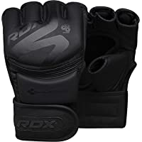 RDX MMA Gloves for Sparring Martial Arts Training | Open Palm Matte Black Convex Skin Leather Grappling Mitts | Great for Cage Fighting, Punching Bag, Muay Thai & Kickboxing