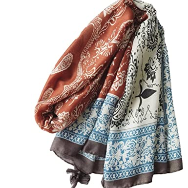 8a49560b574a Leisial Femme Écharpe Châle en Coton satiné Style Broderie Feuille Fleurs  Foulard été Voyage plage de