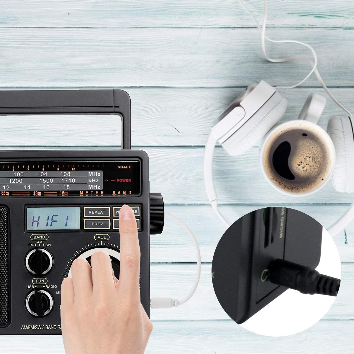 Tabletop Radio Support TF USB Port and V117 Transistor Radio Battery Operated Analog AM FM Radio with Large Knob and Clear Retekess TR618 Transistor AM FM SW Radio Portable Analog Radio with Handle