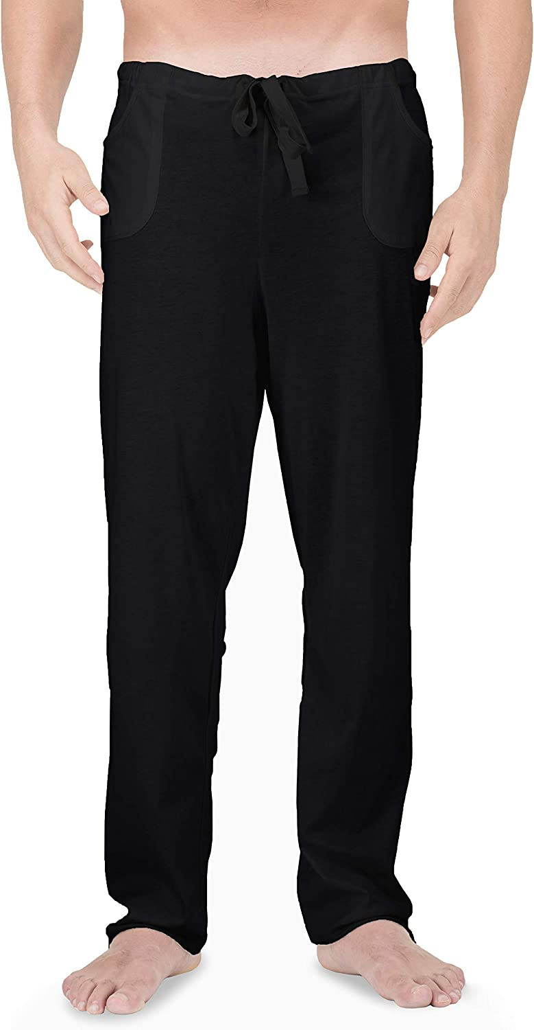 Cottonique Men's Latex-Free Drawstring Lounge Pants Made from 100% Organic Cotton (Black)