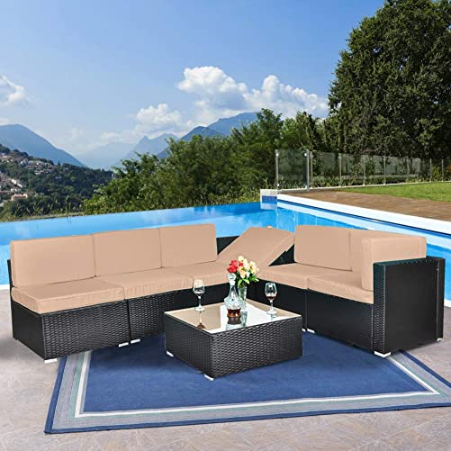 Action club Outdoor All-Weather 7 Pieces Patio Furniture PE Rattan Wicker Sectional Sofa Conversation Set Lawn Garden Seating