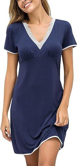 Amazon.com: Ekouaer Camisas de noche para mujer, camisetas ...