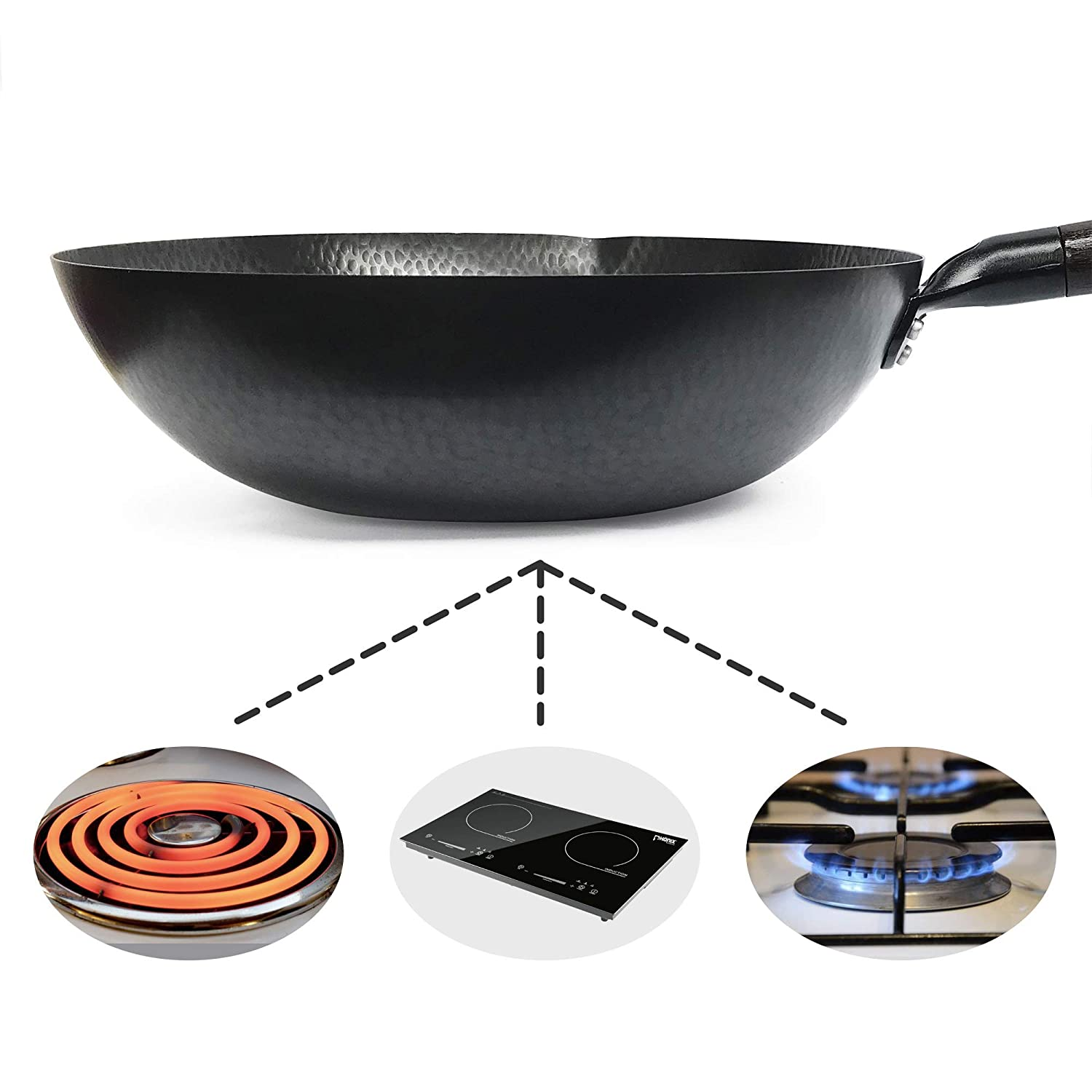 Souped Up Recipes – Flat Bottom Wok For Electric, Induction and Gas Stoves Lid, Spatula and Seasoning Video Guide Included