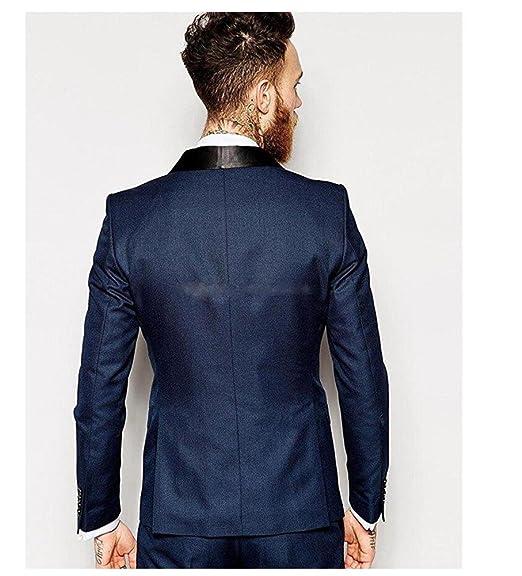 Amazon.com: yanlu azul marino para hombre Trajes 3 piezas ...