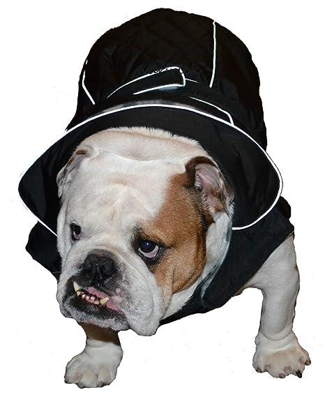 Resistente al agua negro abrigo para perro mediano de 48 cm Longitud – 44 – 66