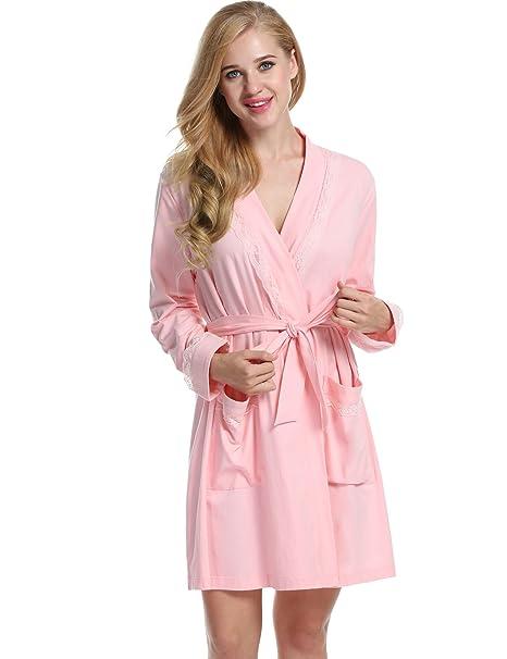 ba4a01d9f6 Avidloe Womens Hotel Spa Robe Short Kimono Lightweight Viscose Knit Bathrobe