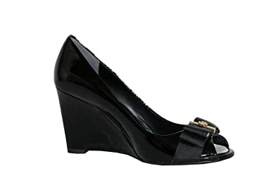0c98c3026fcd Tory Burch Black Trudy 85mm Open Toe Patent Leather Wedges (8.5 ...