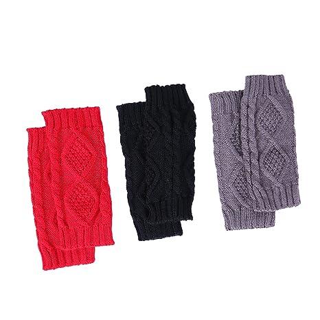 bb0f1c77606 HDE 3 Pack Fingerless Gloves Women s Crochet Cable Knit Wrist