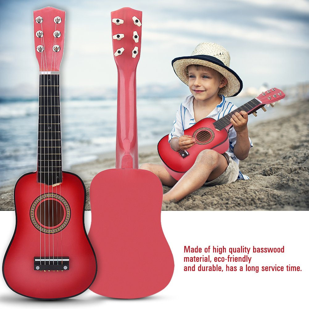 21 Inch Beginners Kids Acoustic Guitar Pink Red 6 String Kids Guitar Toy with Guitar Pick String for Kids Educational Toy Gift Musical Instrument(Red Brown) Vbestlife Vbestlifes6pfhe0uxn-02