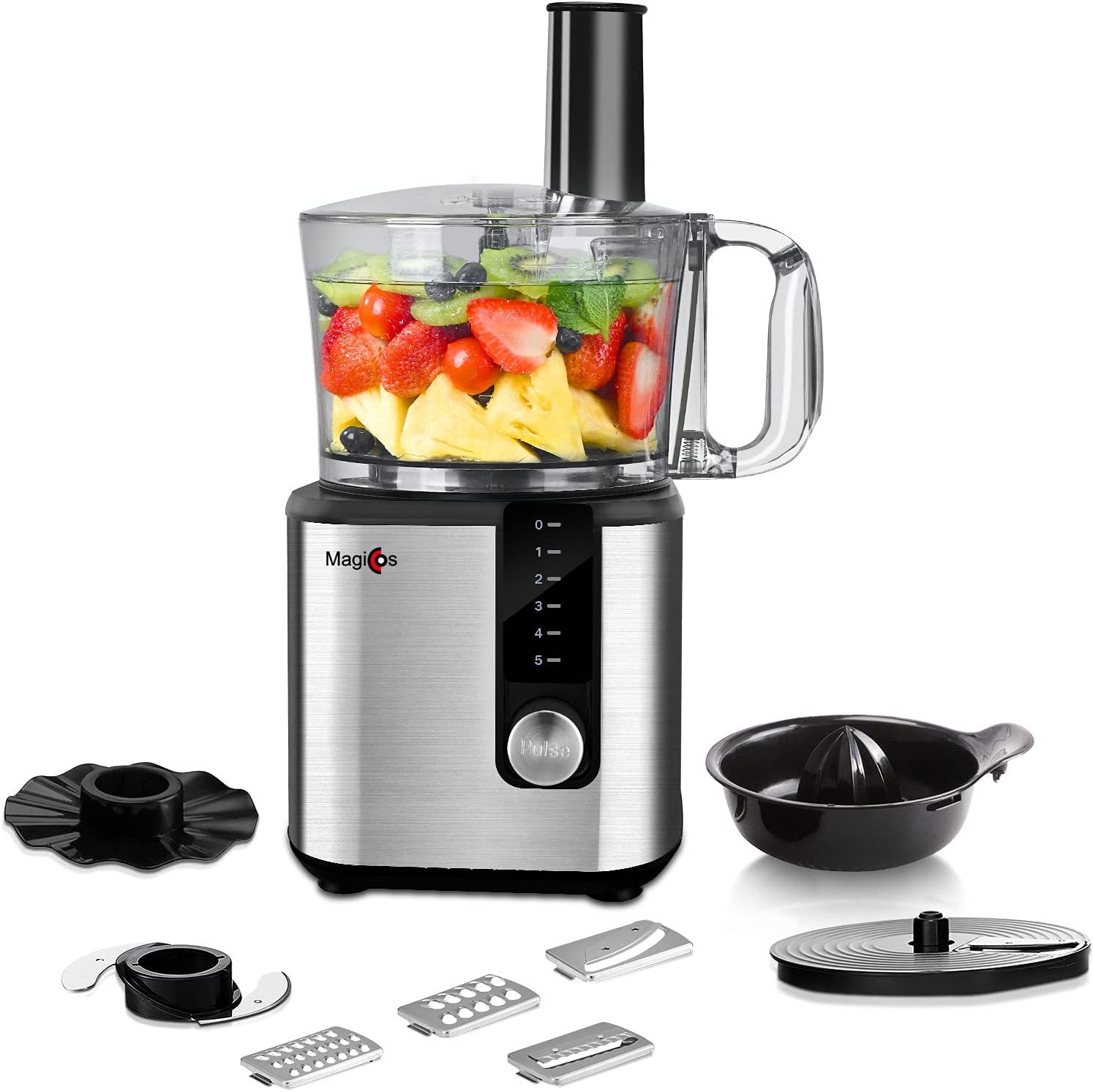 Food Processor - MAGICCOS 2021 Upgraded 7 in 1 Food Processor, 750W Powerful Food Chopper, 8 Cup, 5 Speeds & Pulse for Chopping, (Wave) Slicing, Pureeing, Fine/Coarse Grating, Juicing & Emulsifying