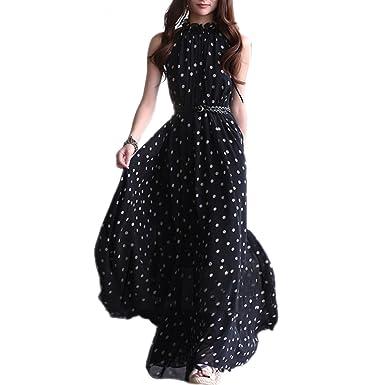 6e850837394ae TOOGOO(R) Vestito lungo maxi da donna in chiffon da donna senza maniche con  cintura Nero  Amazon.it  Abbigliamento