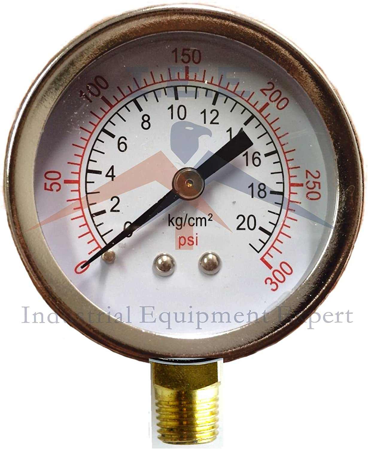 Air Compressor Pressure//Hydraulic Gauge 2 Face Side Mount 1//4 NPT 0-300 PSI