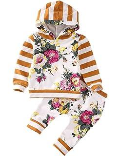 03ed921ed Amazon.com  2Pcs Toddler Baby Girl Long Sleeve Ruffle Tops Sweatsuit ...