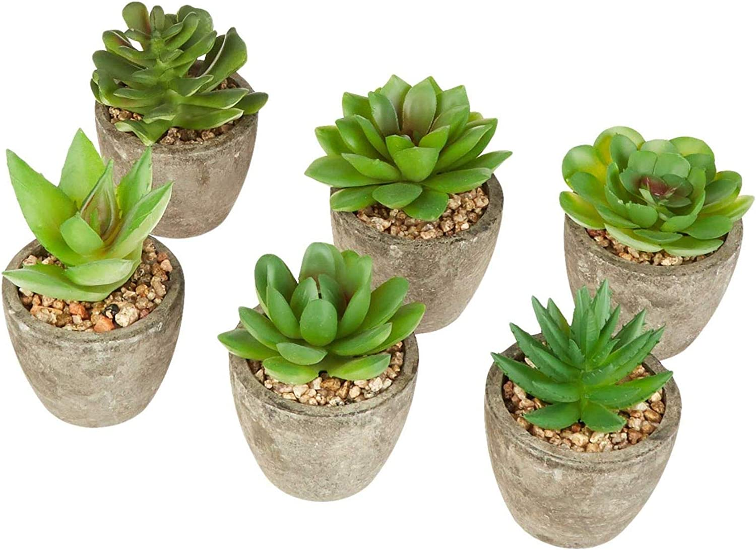 DuraBear Artificial Succulent Plants for Home Or Office | Set of 6 Fake Succulent Plants in Pots | Realistic Look and Feel Faux Succulents | Mini Succulent Plants | Faux Plant Succulent Decor