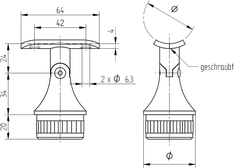 Tubo de soporte con articulaci/ón V4A 42,4 x 2,0 mm blanco