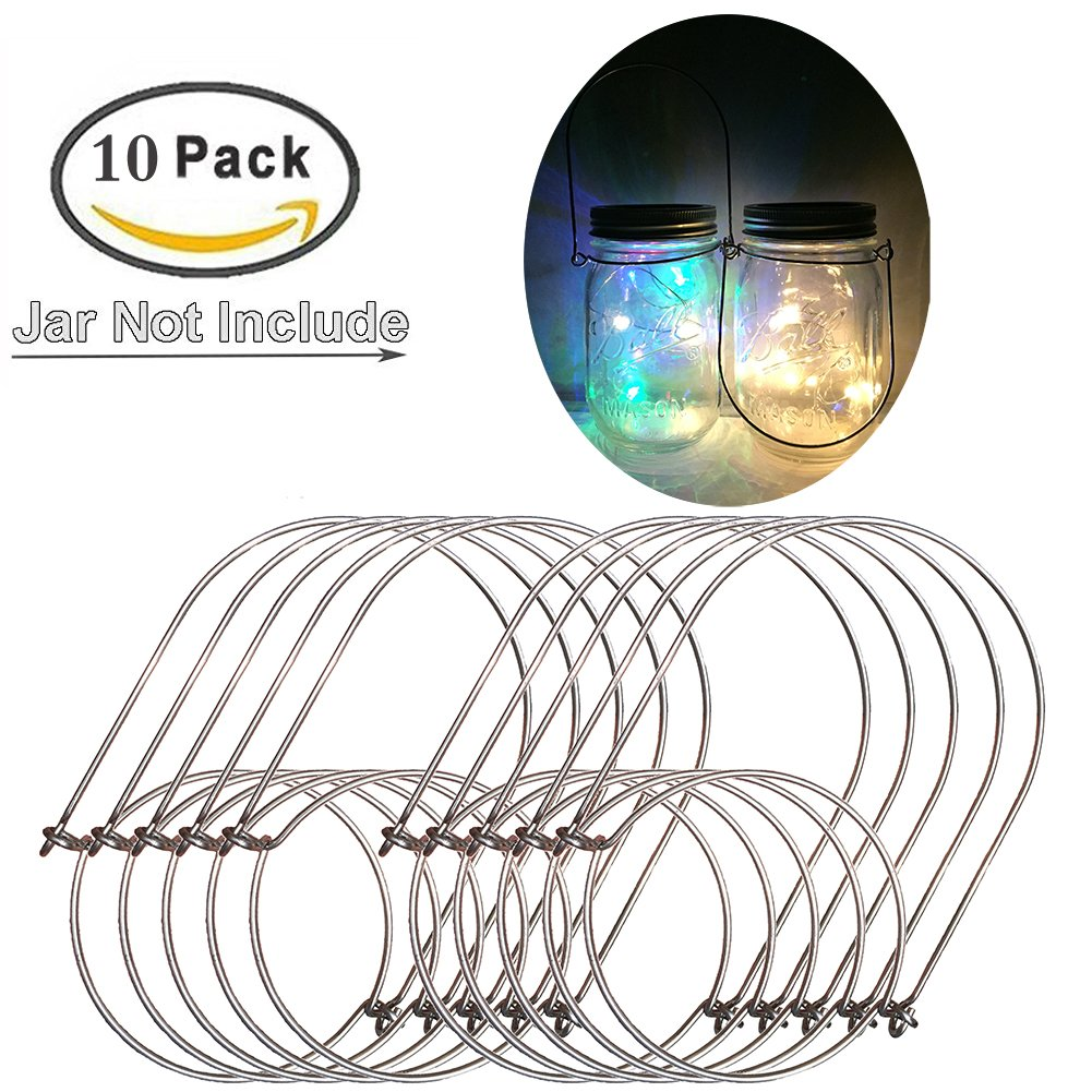 10Pack-Regular Mouth Mason Jar Hanger,Stainless Steel Mason Jar Hangers for Mason,Ball,Kerr,Golden Harvest,Kilner Jars Handle-Ease