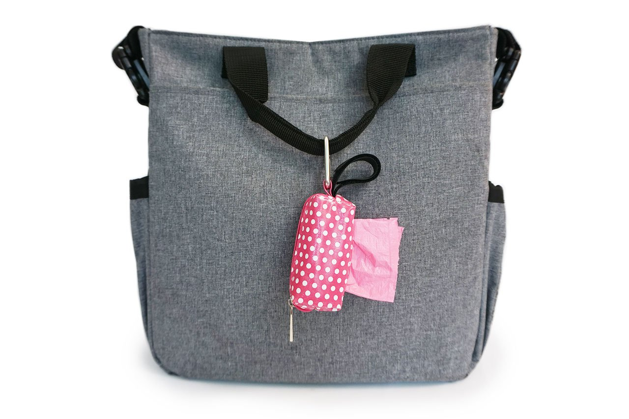 Set of 2 Oh Baby Bags Diaper Bag Clip-On Dispensers with Disposable Bags for Dirty Diapers and Other Messes Sea Dots and Gray Dots