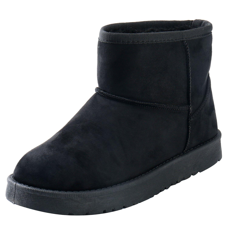 ALEXIS LEROY Women's Classic Pull-On Style Short Snow Boot Black 39 M EU / 8-8.5 B(M) US