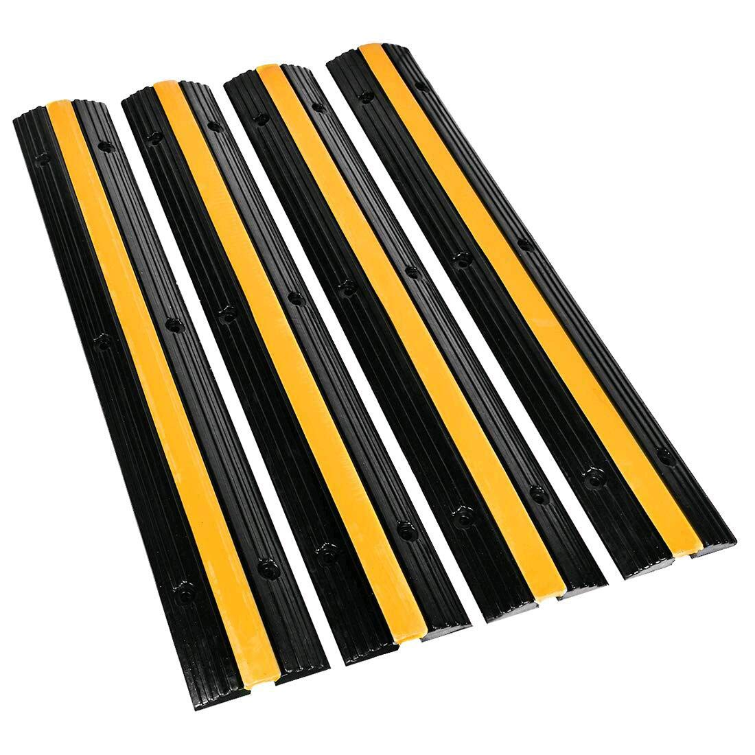 B BAIJIAWEI Cable Ramp - 1 Channel Cable Protector - 4 Pack Heavy Duty 18000LBS Capacity Rubber Speed Bumps Ramp Protective Cover for Driveway Hose Cable