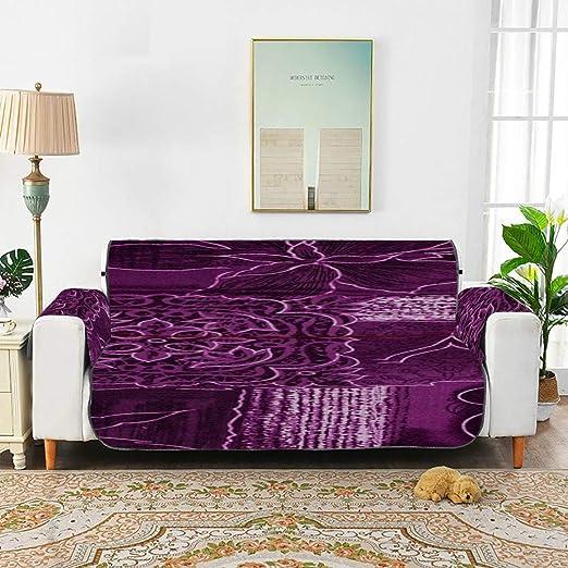 WDDHOME Patchwork Flowers Magenta Purple Fabric Chair Sofa