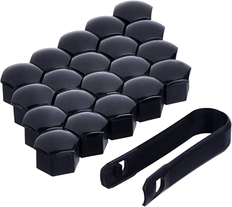 Set di 20/mm 17/tappi per bulloni e dadi in lega universale protezione copre nero lucido adatto per Audi