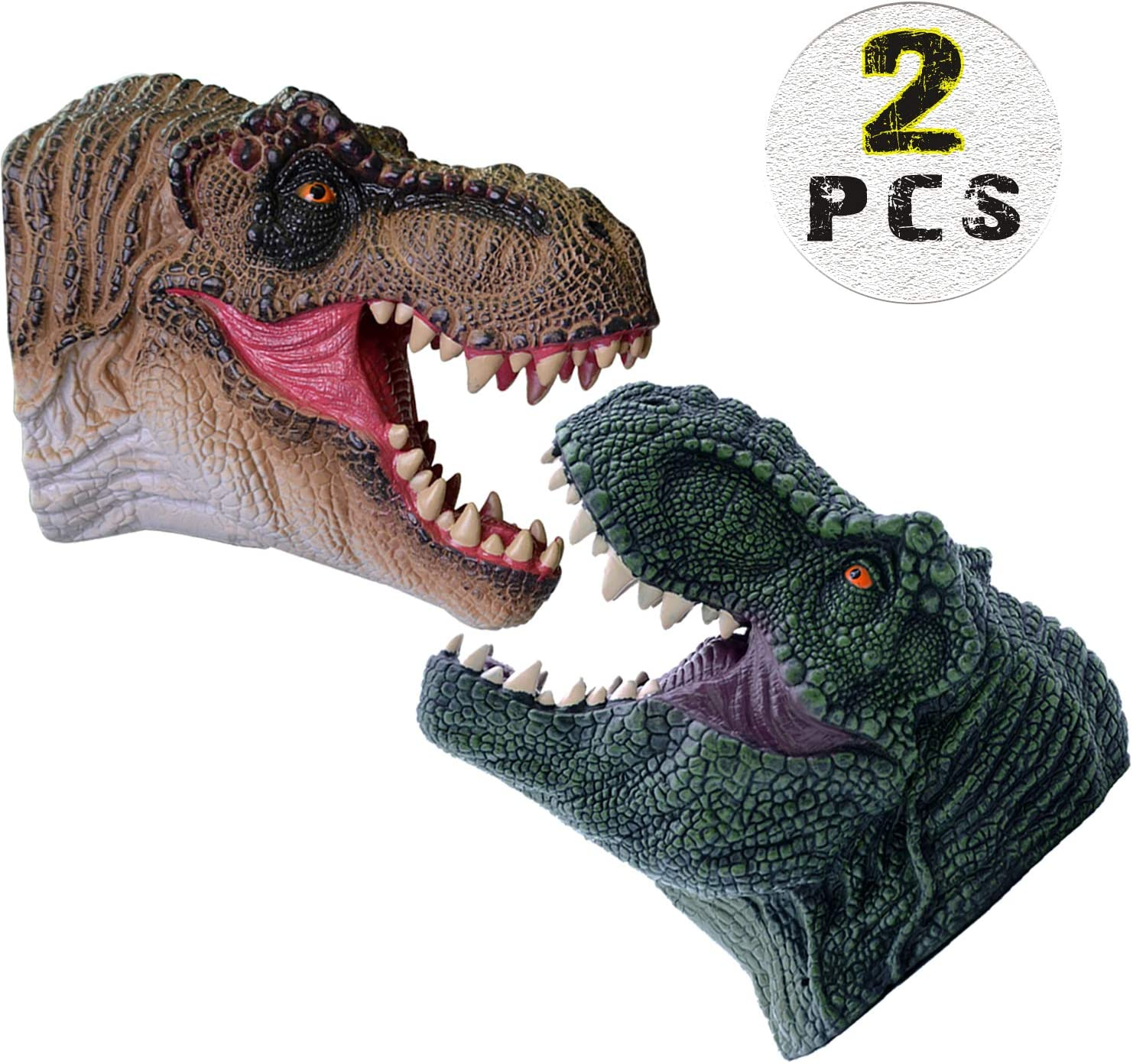 KELIWOW Dinosaur Hand Puppets Toy | Realistic Soft Rubber Tyrannosaurus Rex Puppets, Bath Toy & Beach Toy for Kids Boys Girls Aged 3 4 5 6 7 8 9 10+ (2 Pack)
