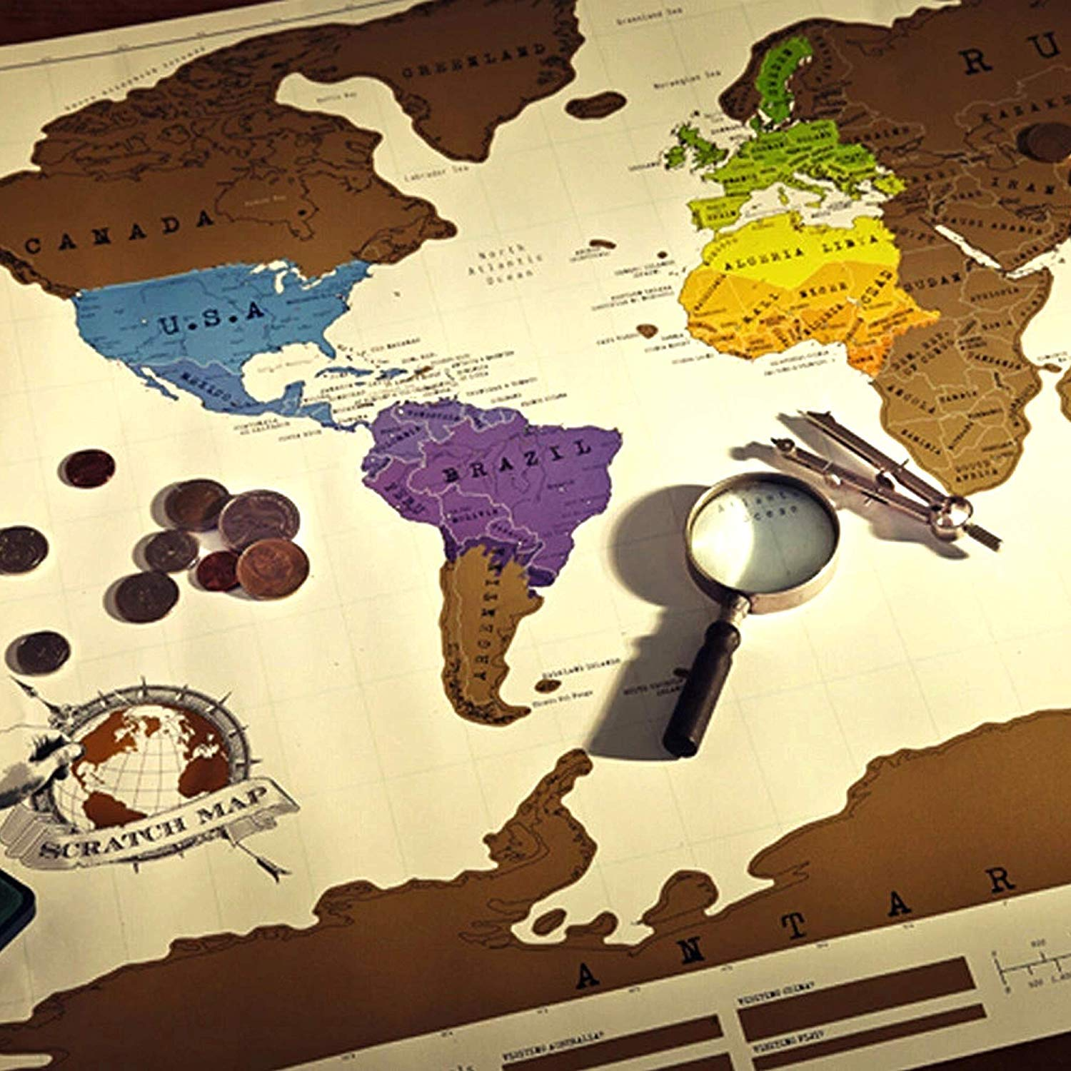 Fun Gift Vintage Gold Coated Foil Poster Luxury White Coated Paper Material Scratch Map World Map Traveler D/écor Wall Map