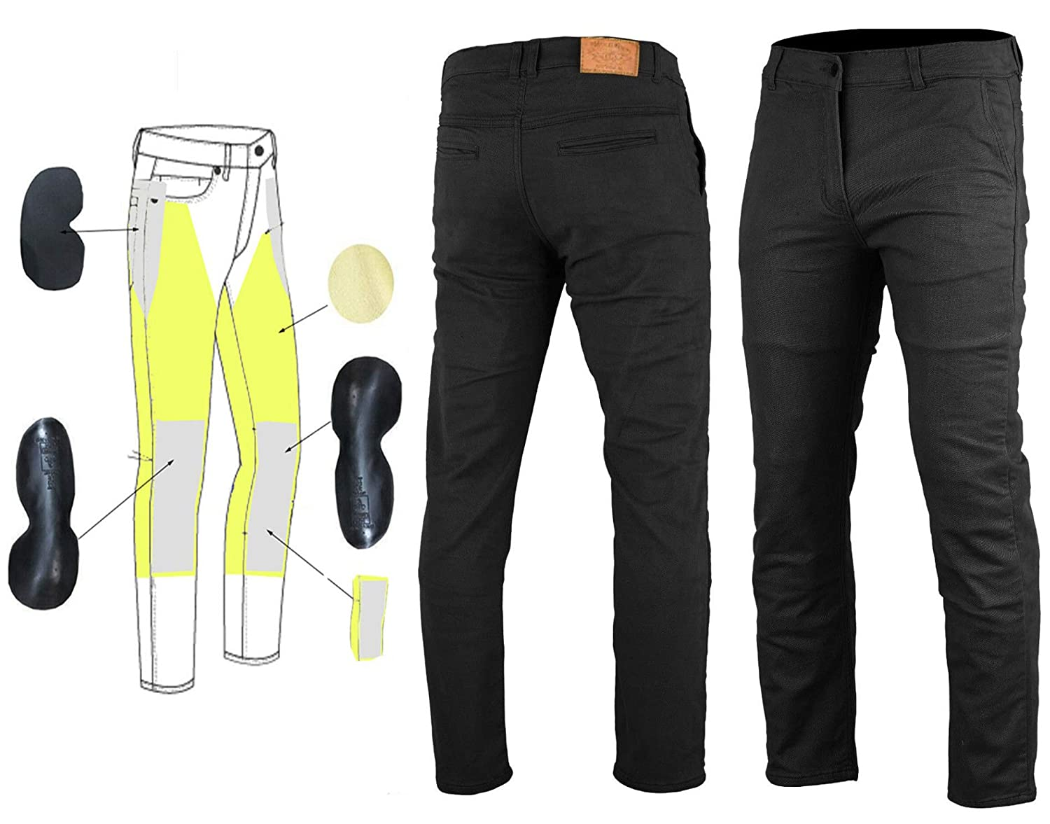 Bikers Gear Australia New Modern Chino Style Kevlar Lined Protective Motorcycle Jeans with CE 1621-1 Protection 42R Black