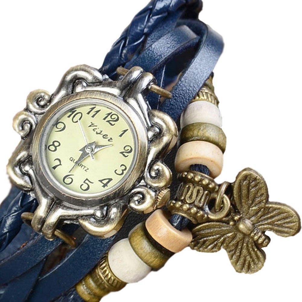 Da.Wa Reloj de Pulsera Brazalete Cuero Trenzado Retro para Mujer con Colgante de Mariposa