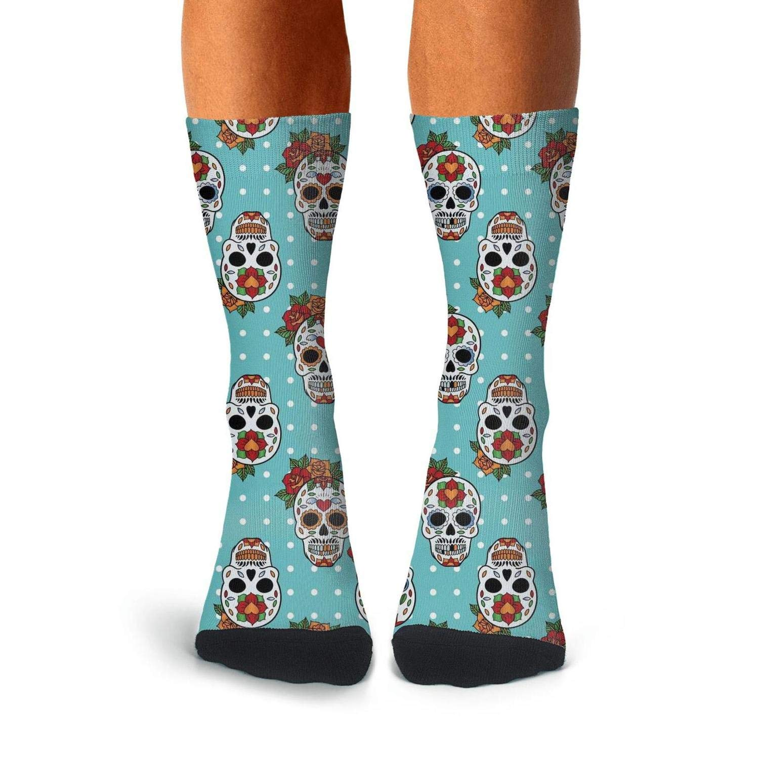 Knee High Long Stockings KCOSSH Sugar Skull Novelty Calf Socks Cool Crew Sock For Mens